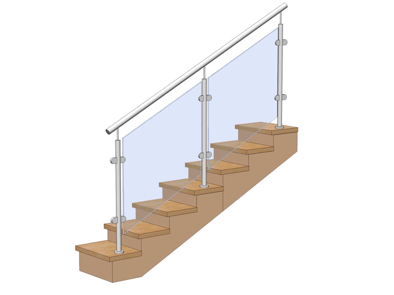 Стеклянные ограждения для лестниц с креплением на ступень