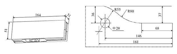 Trento A-10 - петля нижняя для маятниковой стеклянной двери. Чертеж