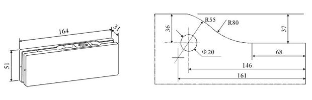 A-20 - петля верхняя для маятниковой стеклянной двери. Чертеж