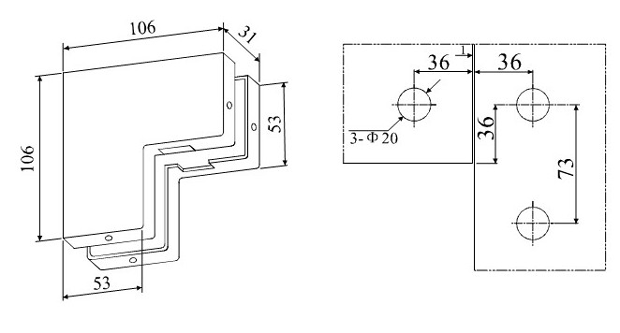 A-25 – крепеж угловой для маятниковой стеклянной двери. Чертеж
