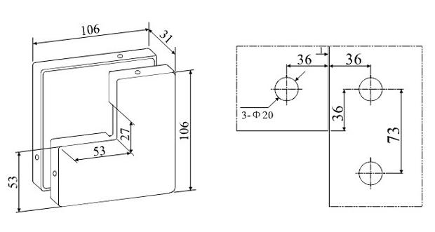 A-26 – крепеж угловой с притворной планкой для маятниковой стеклянной двери. Чертеж