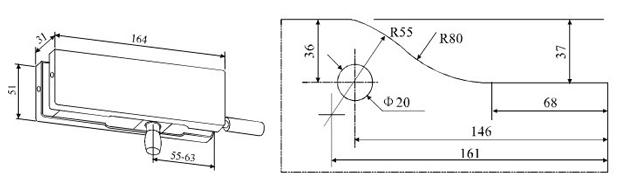 A-30A/B – крепеж к стене с верхней осью для маятниковой стеклянной двери. Чертеж