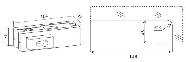 A-50 - замок угловой с цилиндром для маятниковой стеклянной двери. Чертеж